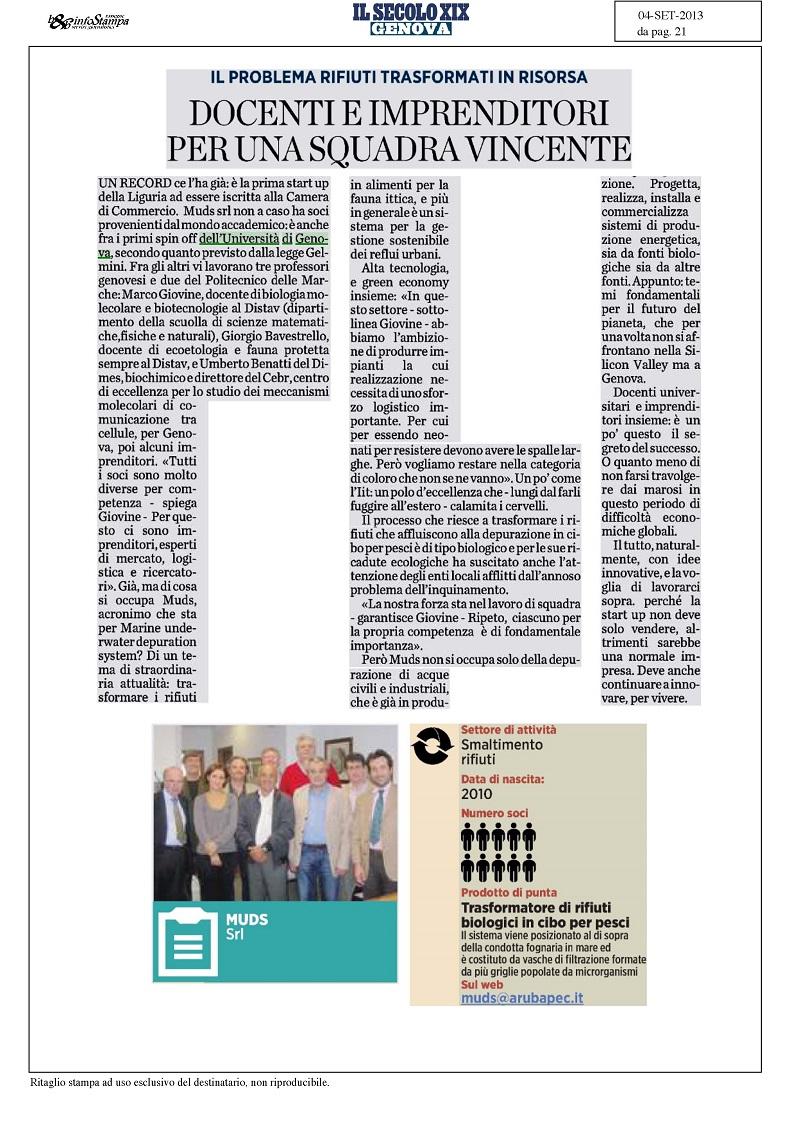 Secolo XIX 04-09-2013