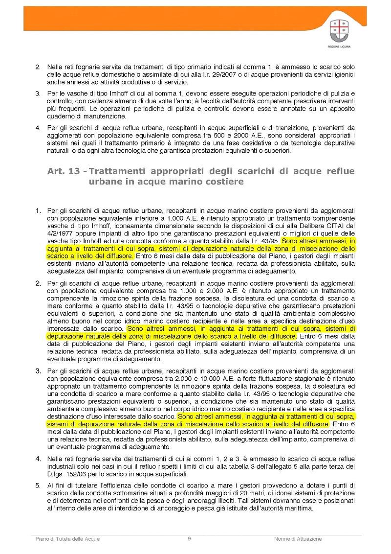 MUDS PTA Liguria articolo 13
